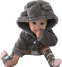 URSING Kleinkind Baby Jungen Mädchen Pelz Hoodie Winter Jacke Warmer Mantel Niedlich Dicke Jacke Sweatjacke Wärmejacke Streetwear Fleecejacke Kapuzenjacke Übergangsjacke