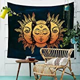 Sonne Mond Wandteppich Hippie Bohemian Orientalisch Wandbehang Dekotuch Wandtuch Tapestry Tapisserie Strandtuch 150x130cm