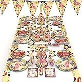 Finsink Party Set Partygeschirr Geburtstagsset 90-teiliges Party-Set Flamingo (Mädchen)