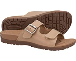 Everhealth Women's Buckle Slides Sandal orthopaedic Sandal for Plantar Fasciitis, Orthotic Arch Support Sandals Relieve Flat