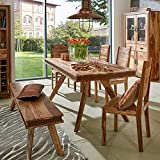 Pharao24 Landhaus Tischgruppe aus Sheesham Massivholz handgearbeitet