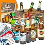'BIERE DER WELT' Geschenkbox + gratis Geschenkkarten + Bierbewertungsbogen. Bier Geschenke aus Portugal + Russland + Frankreich +...Singha + Birra Moretti + Mythos +... Bier Geschenke für Männer
