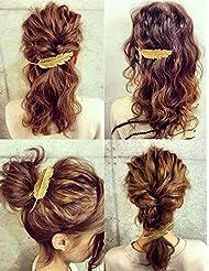 3pcs Pinces barrette clip à cheveux forme plume feuille en alliage