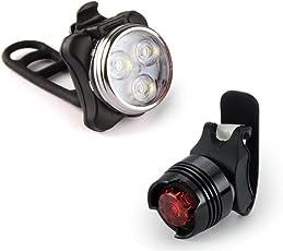 LED Fahrradlampe Jamicy® Fahrradlicht Wiederaufladbare Frontlicht und Rücklicht Für Fahrrad, Kinderwagenbeleuchtung, USB LED Fahrradlicht Set, Fahrradbeleuchtung, Wasserdichte 3 Licht-Modi ,Glocke
