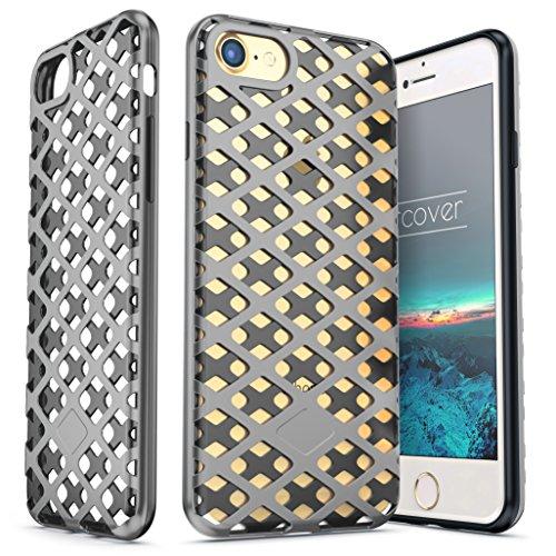 Urcover® Apple iPhone SE / 5 / 5s Hülle Mesh Case 2-teilig aus PC & TPU in Weiß / Rot Dual Layer Zubehör Tasche Back-Case Handy-Hülle Cover Schutz-Hülle Schale Dunkel Blau / Grau