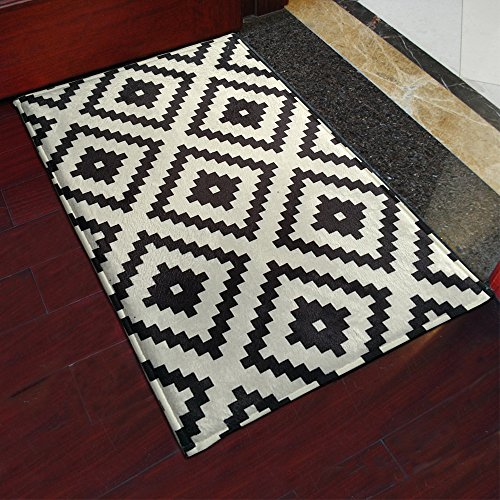 yazi Black White Mosaics Doormats Stripe Indoor Outdoor Mats Home Decoration 40x60cm