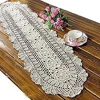 ustide rústico Floral Ganchillo mesa Beige algodón Camino de mesa Mantel de Encaje ovalada mesa para