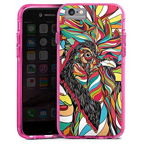 Apple iPhone 8 Bumper Hülle Bumper Case Glitzer Hülle Hahn Bunt Colourful Bumper Case transparent pink