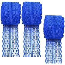 3 rollos de cinta de encaje floral elástica de encaje elástica para manualidades, joyería,