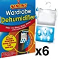 6 x Wardrobe Dehumidifier- Hanging Wardrobe Dehumidifier Ideal to stop damp, mould mildew & condensation - Remove damp and improve air quality - low-cost UK light shop.