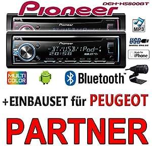 Peugeot Partner - Pioneer DEH-X5800BT - CD/MP3/USB Bluetooth Autoradio - Einbauset