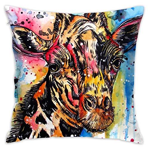 LongTrade 4 Größen Kissenbezug Watercolour Giraffe Decorative Throw Pillow Covers Euro Sham Cushion Sham Square Cushion Case Pillowcases for Living Room Sofa Bedroom Car