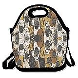 Carino Pugs Lunch Tote Bag Picnic Lunchbox Isolato Riutilizzabile Contenitore Organizer Forma Adulti, Bambini