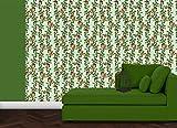 grüne, elegante Tapete: Die Apfelkirsche mit Vögeln, Blüten und Kirschen für Gartenfreunde - Vlies Tapete Blumen Obst Tiere - Klassische Wanddeko - GMM Design Tapete - Wandtapete - Wand Dekoration für edle Wohnakzente (Muster 20 x 46,5cm)