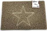 Estrella Felpudo Logotipo en Relieve Rizos de Vinilo Entrada Bienvenido Lavable Exteriores Interiores Alfombra 【60x40cm,Pequeño,Beige】