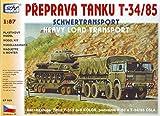SDV LKW Truck Tatra T 813 8x8 Kolos Anhänger P50 und Panzer T34 Modellbau Kunststoff Modellbausatz 1:87 H0