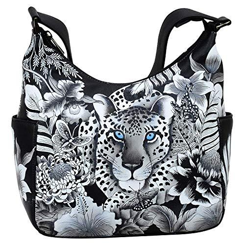Anuschka Damen Handtasche aus echtem Leder, klassisch, Hobo mit Seitentasche, Cleopatra's Leopard (Anuschka Handtaschen Leder)