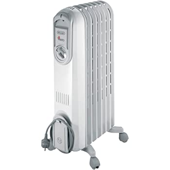 De'Longhi Vento Electric Oil Filled Radiator, 1.5 KW - Grey/White