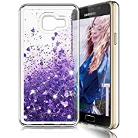 Funda Samsung Galaxy A3 2016,LK [Ultrafina] Brillante bling Glitter Heart Lindo diseño creativo de lujo Sparkly Crystal Liquid Quicksand TPU Funda protectora a prueba de golpes de silicona para Scratch para Samsung Galaxy A3 2016 - Púrpura