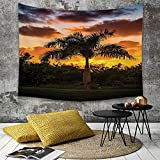 Tapestry, Attaccatura a muro arazzi, Murale d'arte,Palm Tree Decor, Palm Tree Silhouette Scene at Sunset Twilight Tranquillit,Copriletto Picnic Lenzuolo Coperta hippie Arazzo decorativo 130 x 150 cm