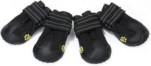 Phenovo 4pcs Pet Waterproof Rain Snow Boots Shoes Socks with Rugged Anti-slip Sole - black, L