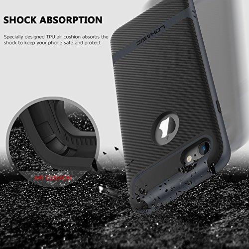 Coque iPhone 7, [Premium Armor] TPU Pare Carbone Fibre Coated Dual Layer Protective Housse Etui Pour iPhone 7 [Rose Gold] Noir/For iPhone 7
