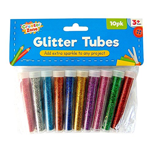 10pk Glitter in Assorted Vibrant Colours | Glitter Shakers for Children for Crafts by Creator Zone | Glitter for Slime, Craft and Art | Free EBOOK with Over 100 Ideas