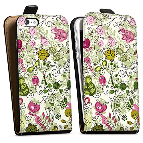 Apple iPhone X Silikon Hülle Case Schutzhülle Schmetterlinge Blumen Ranken Downflip Tasche schwarz