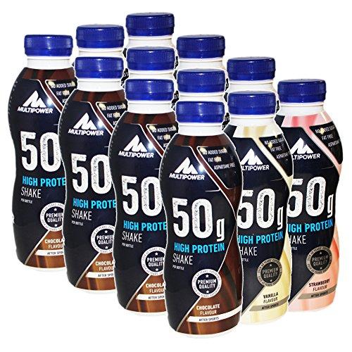 Multipower 50g High Protein Shake 12 x 500ml Mix Schoko, Vanille und Erdbeere