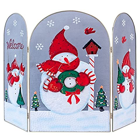 L'Atelier de Noël 70cm bonhomme de neige décoré Cheminée Surround