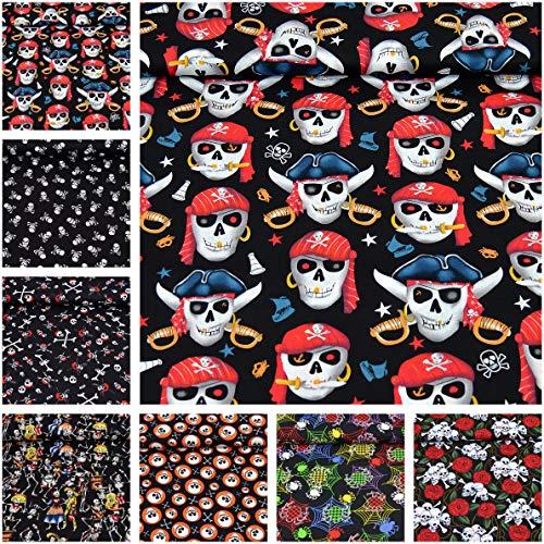 MAGAM-Stoffe Jack Baumwollstoff Popeline Halloween Piraten Skulls Meterware 50cm (07. Piraten groß)
