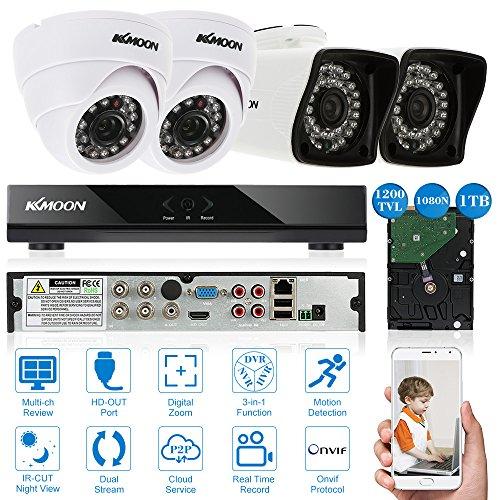 KKmoon-4CH-Full-AHD-1080N-DVR-Grabador-de-Video-P2P-Onvif-1TB-Disco-Duro-2x-1200TVL-Cmara-Bala-2-Cmara-Domo-4x-65ft-Cable-Visin-Nocturna-AndroidiOS-APP-Deteccin-de-Movimiento