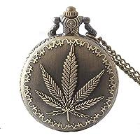 Aruie Montre de Poche Feuille de Cannabis Motif Floral Chiffre Arabe Quartz Retro Biker Bronze Collier Gousset Homme…