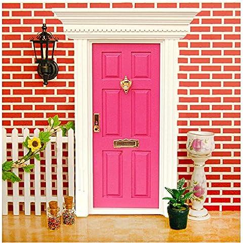 V-EWIGE 1/12 Casa de muñecas en miniatura 6 de la red exterior de la puerta de color madera con accesorios de hardware Hotpink Nueva