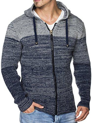 TAZZIO Herren Strick-Jacke mit Melange Muster 16485 Royalblau L
