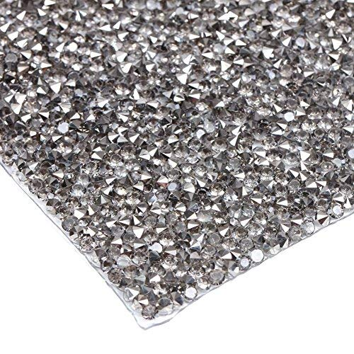 240 x 400 mm Kristall Strass Trim Hotfix Strass Kristall Mesh Streifenbildung Bridal Perlen Applikationen in Tabelle für Kleider mit 2 mm Strass 240X400mm Black Diamond with Silver -