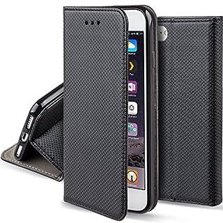 Moozy Hülle Flip Case für iPhone 5s / iPhone SE, Schwarz - Dünne magnetische Klapphülle Handyhülle mit Standfunktion