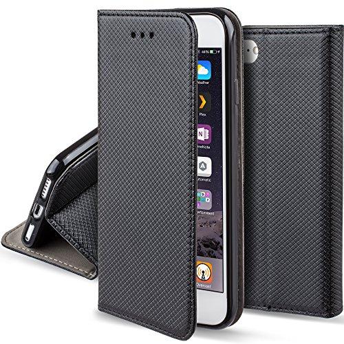 se Schwarz - Moozy® Dünne magnetische Bookstyle Klapphülle mit Standfunktion und Silikon Handyhalter (Magnetische Tasche)