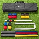 Net World Sports COMPLETE 4 PERSON CROQUET SET Wooden Garden Croquet Set Traditional