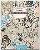 DÉKOKIND Zeichenbuch: DIN A4, 122 Seiten, Register, Vintage Softcover | Dickes Blanko-Notizbuch zum Selbstgestalten | Motiv: Feminin
