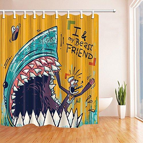 Nyngei Cartoon Shark con denti affilati Beats amico di Sailor tenda bagno tenda doccia in tessuto di poliestere impermeabile 70.8x 70.8in ganci per tende da doccia incluso turchese arancione