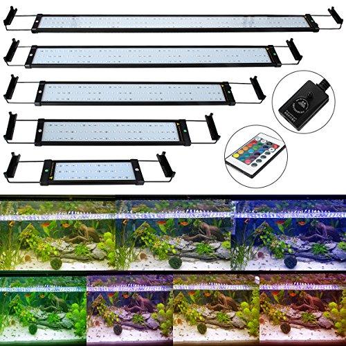 GreenSun 6W 28.5cm Aquarium Beleuchtung LED Aquariumlicht Aquariumleuchten Aquariumlampen 36*5050SMD RGB 24 Tasten IR Fernbedienung und 10cm Docking Halterungen Einstellbare Länge für Fisch Tank
