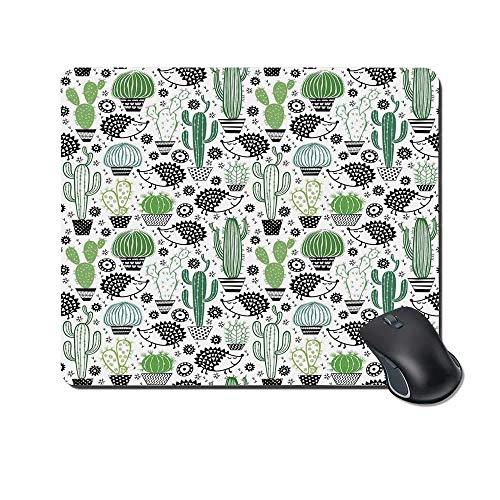 Cactus Decor Durable Mouse Pad, Cartoon inspirierte Zeichnung von niedlichen Igel Tiere Saguaro und Feigenkaktus dekorativ für Office Home,Gummimatte 11,8