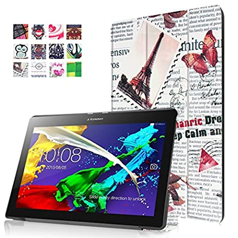SZHTSWU® für Lenovo TAB 2 A10-30F Hülle, Farbmalerei Serie Ultra Dünn PU Leder Shell Tablette Case Schutzhülle Flip Leder Tasche mit Ständer Etui für Lenovo Tab 2 A10-30F (10,1 Zoll) Tablet-PC (Zeitungen
