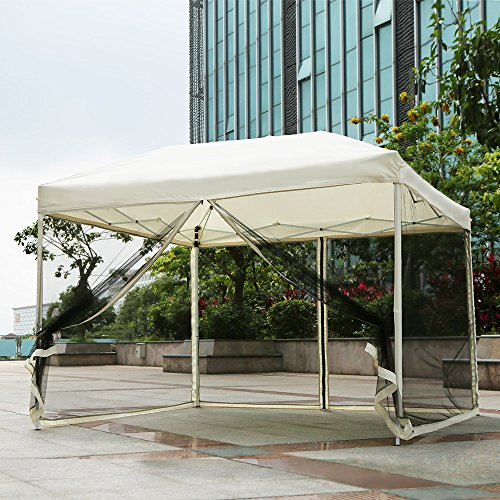 IKAYAA F002-S - Carpa de Jardín Plegable + Bolsa + Mosquitera (3x3x2.6m) Multifuncional para Terraza Playa Camping Exterior Aire libre Boda Fiesta