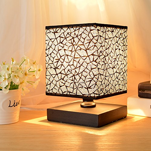 Table Lamp, HHome Plus Modern Simple Desk Lights Bedroom Bedside And Table  Lamps With Square Fabric Lampshade, Long Cable With In Line Switch, Wooden  Base   ...