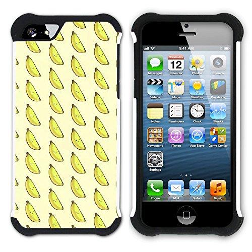 Graphic4You Banane Frucht Hart + Weiche Kratzfeste Hülle Case Schale Tasche Schutzhülle für Apple iPhone SE / 5 / 5S Design #9