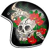 MT Le Mans 2 Skull & Roses Open Face Motorcycle Helmet Black XS