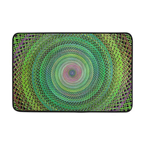 longkouishilong Area Rugs Custom Checkered Non-Slip Pad Cover Doormat 24 x 16 inch Wire Woven Vector Graphic Generated Fractal Vibrant Carpet Pattern (Woven Ground Cover)