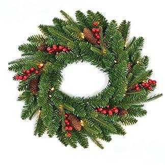 Gifts 4 All Occasions Limited SHATCHI – Guirnalda de 55 cm con varias puntas de iluminación navideña, chimenea, decoración de pared para puerta de exterior, interior 11001, color verde
